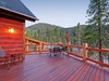 Beautiful wooden stained porch with amazing view