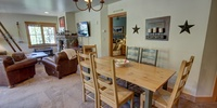 Dining area with super cool wall decor