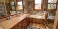 Bathroom with a relaxing bathtub
