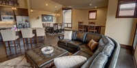 Living room with comfy leather couches