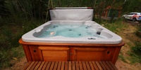 Hot tub with bubbles and relaxing water