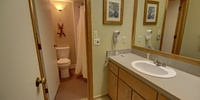 Bathroom with lots of splashes of color