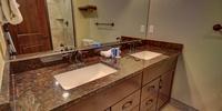 Bathroom with beautiful colored granite
