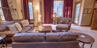 Living room with comfortable leather couches
