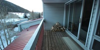 Balcony with extra wood for the fireplace