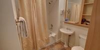 Bathroom with gorgeous tiled floors