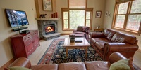 Living room with a cozy fireplace