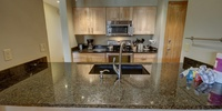kitchen with smooth beautiful granite countertops
