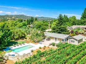 Vina Vista - long distance view of backyard pool, house and adjacent vineyards.