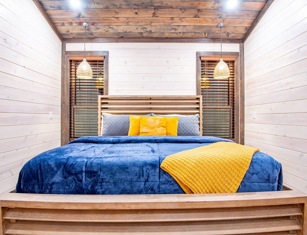 Blue and Yellow make a Happy Feeling in this Luxury King Master Suite