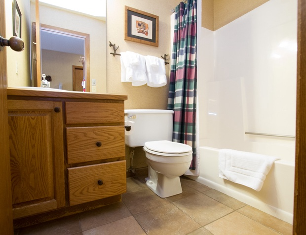 The lower level bathroom features a shower/tub combo.