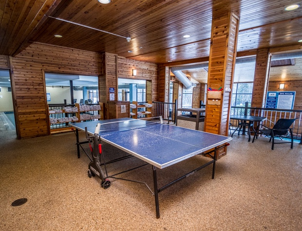 The indoor pool area also features a sauna and ping pong table area.