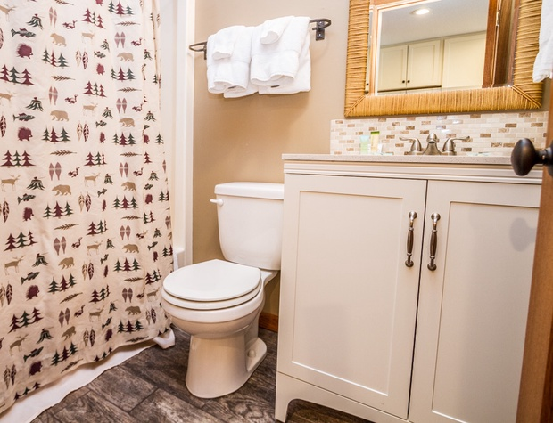 The bathroom features a shower/tub combo.