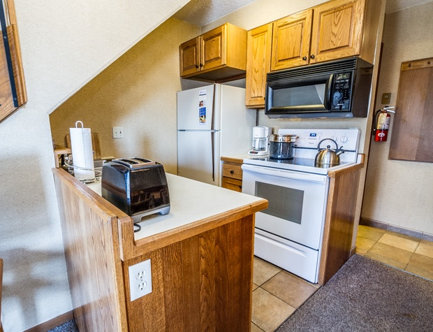 The kitchen is equipped with the basics needed to prepare meals during your stay.