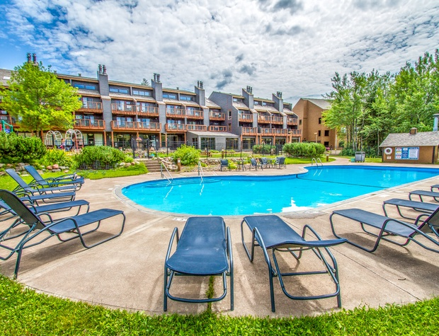 Open in the warmer months, the heated outdoor pool is a great place to take a dip or relax.