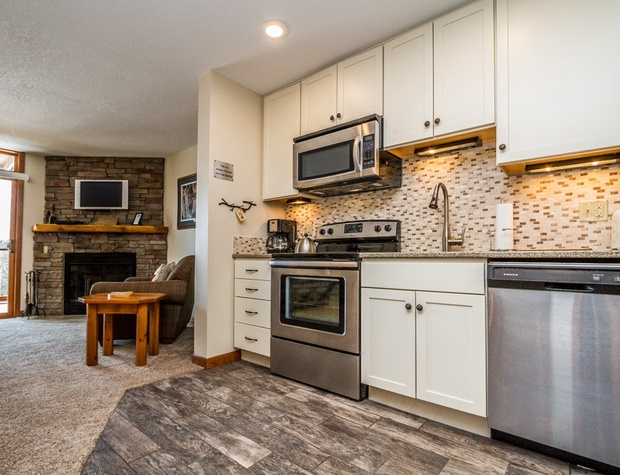 The kitchen also features a dishwasher, no need to hand wash dishes during your vacation.