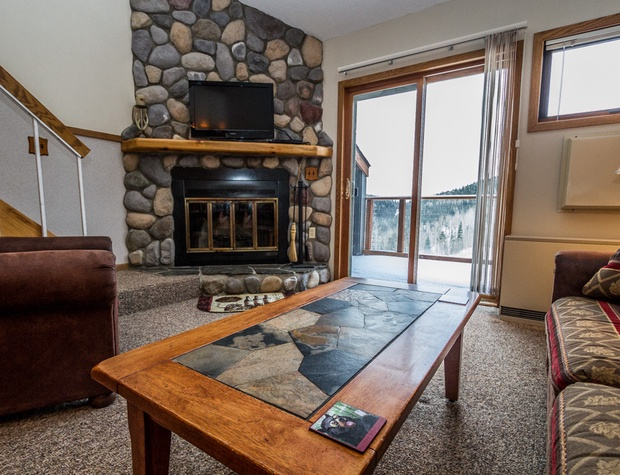 The open living area features tall ceilings and a wood burning fireplace.