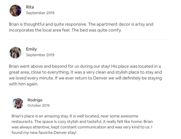 Reviews from Previous Listing