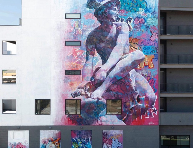 Mural of Hermes Messenger of the Gods by PichiAvo on building