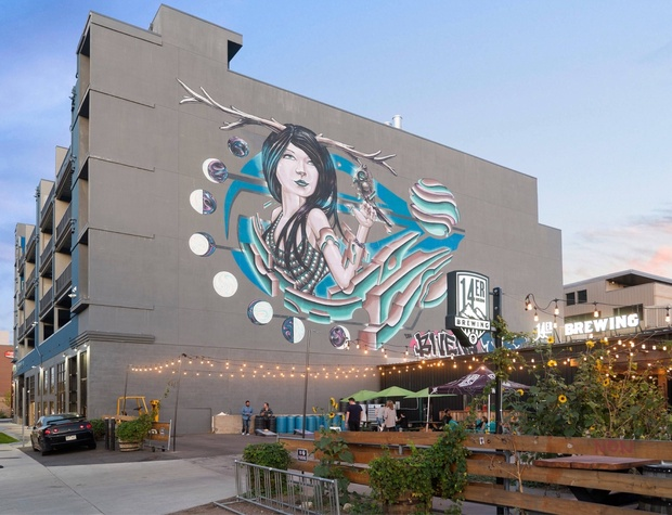 14er Brewing and Beer Garden and Mural on the South Side of the Building