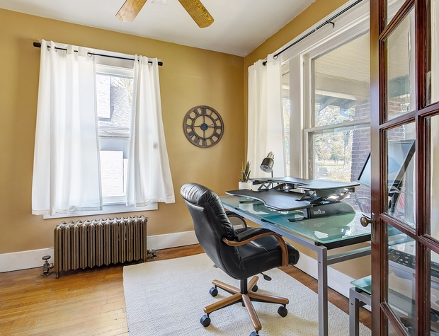 Office with Desk (+ Sit-to-Stand Desk Riser) with a View of Washington Par