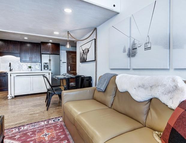 Kitchen & Sleeper Sofa with Memory Foam Mattress in Living Area