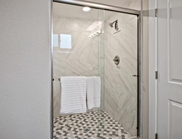 Walk-in Glass Shower!