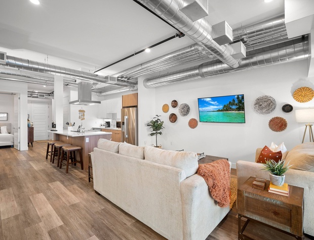 Living & Dining Areas + Kitchen