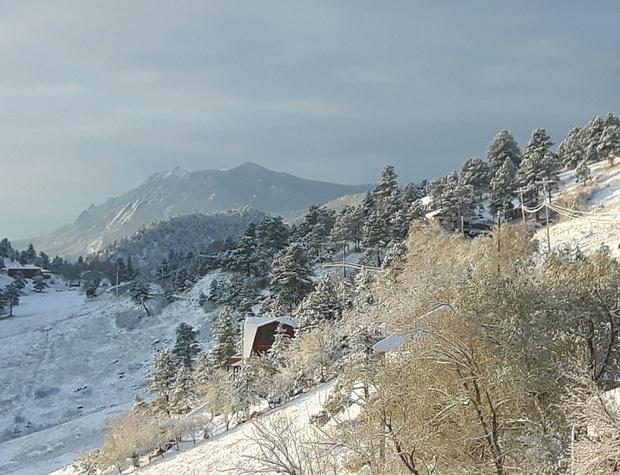 Winter wonderland view from the deck