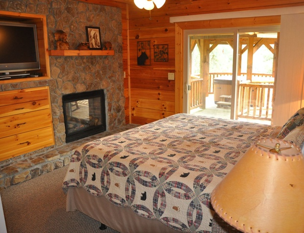 Fireplace In the Master with Access to the Hot Tub