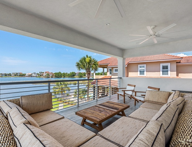 Lakeside Rendezvous |2nd Floor Outdoor Living Space with lake and gulf views