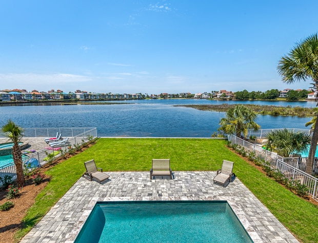 Lakeside Rendezvous | 2nd Floor balcony with pool, spa, lake, and gulf views