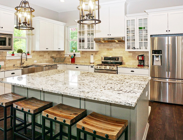 Beautifully designed gourmet kitchen with large island