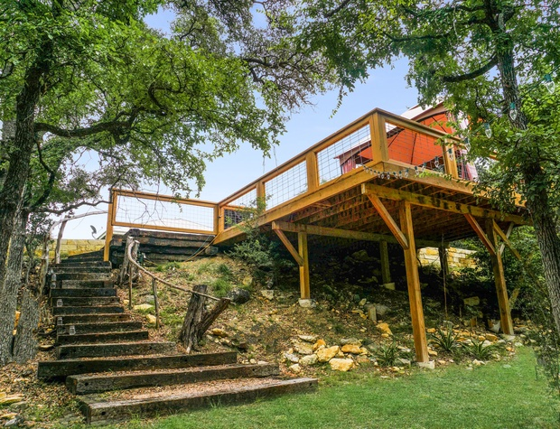 View of the stairs from the creek to the house