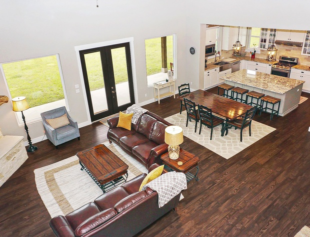 Overhead view of the living/dining and kitchen area