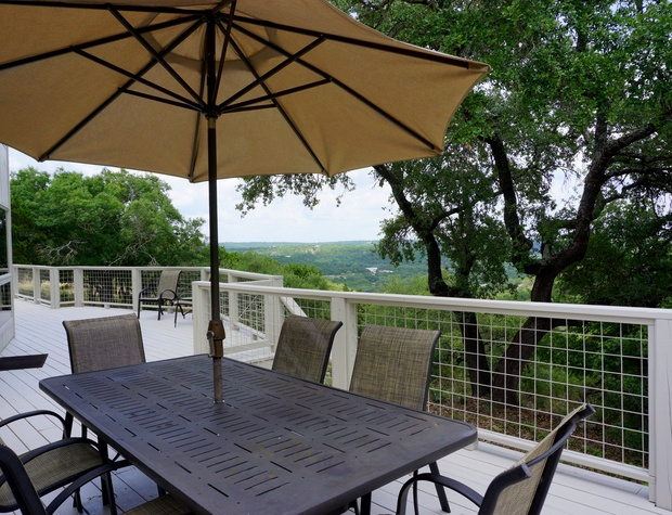 Outdoor dining on the expansive deck.