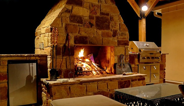 Fireplace in outdoor seating area