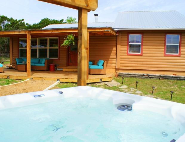 Inviting back yard and hot tub!