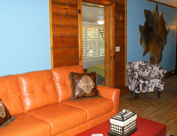 comfy couch and seating in the living area.