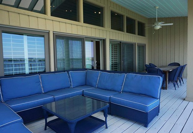 Large outdoor sofa on the balcony