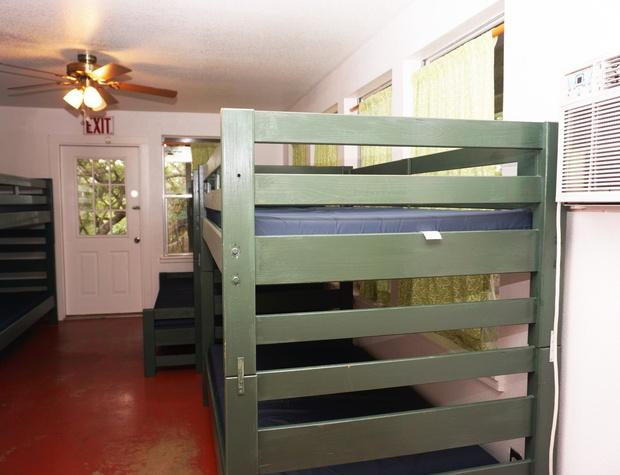 Bunk beds with back door in second sleeping area