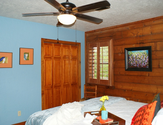 Master bedroom with closet and shuttered windows