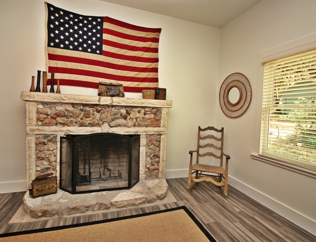 Private fireplace in the master bedroom