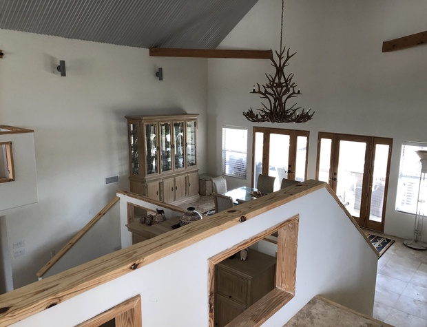 Looking down on dining room