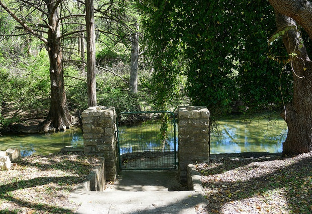 Gated entrance to the creek