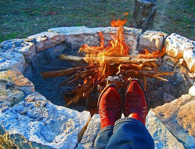 Relaxing by the fire pit