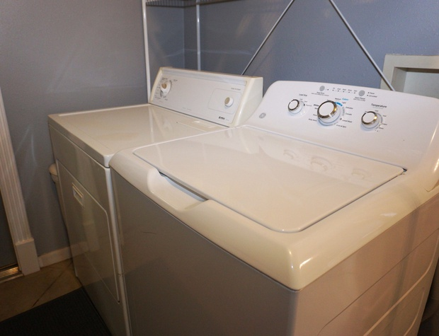 Full size washer and dryer.