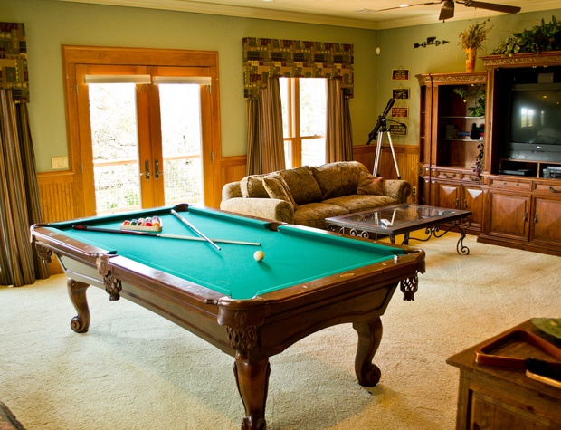 Upstairs pool/game room with private deck and queen sofa sleeper
