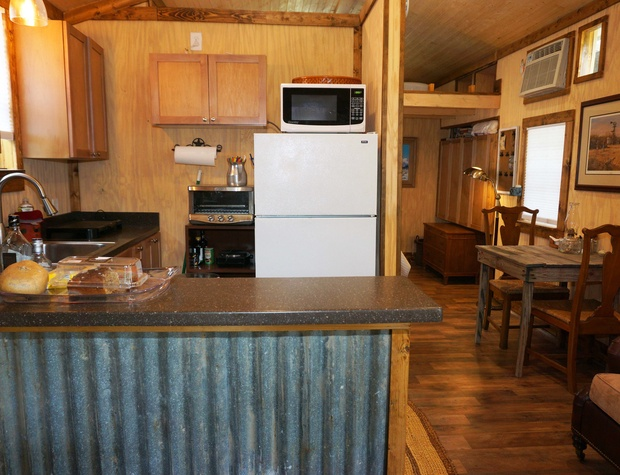 View from front of cabin looking at kitchen.