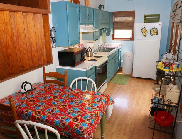 Kitchen with microwave, stove, oven, and dishwasher